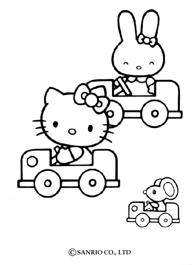 Coloriage Voiture Fille.Coloriage Hello Kitty Coloriage De Hello Kitty En Voiture Az
