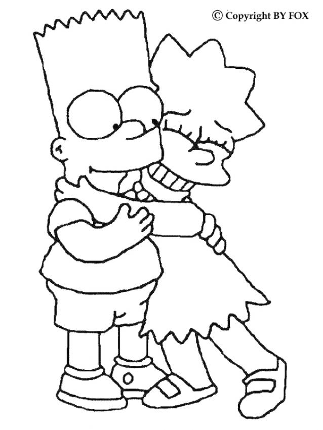 Coloriage BART SIMPSON - Coloriage de Bart et Lisa