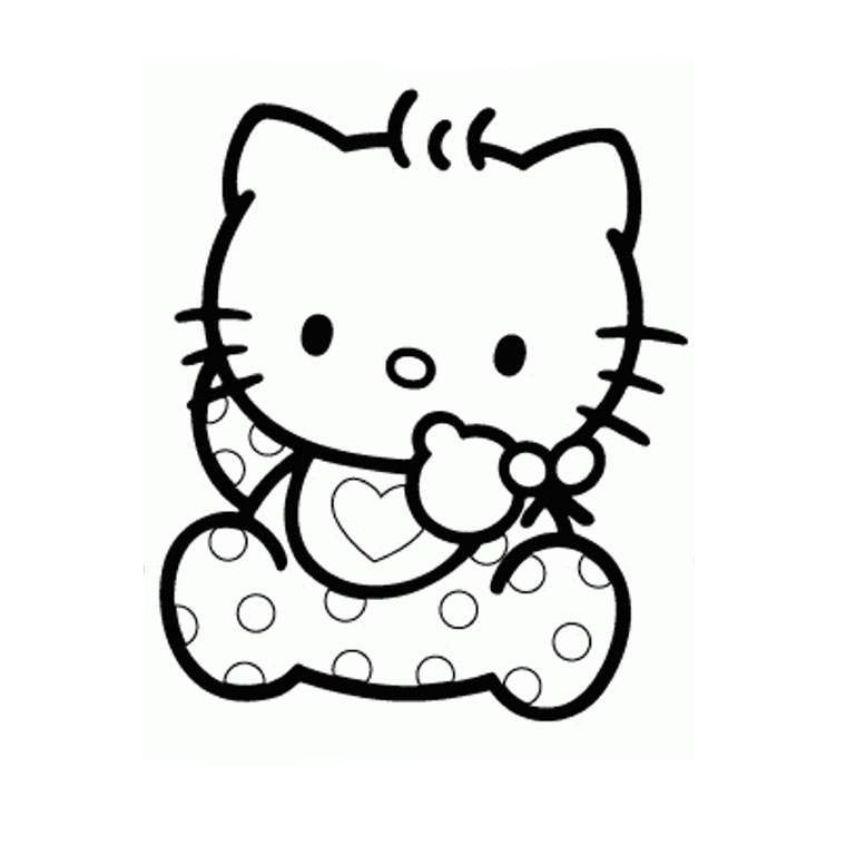 Coloriage Hello Kitty Baby a Imprimer Gratuit