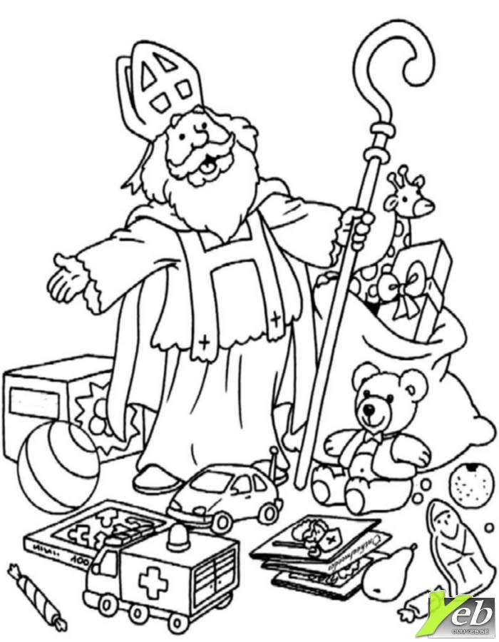 Coloriage La Hotte De Saint Nicolas Dans La Categorie Saint Az