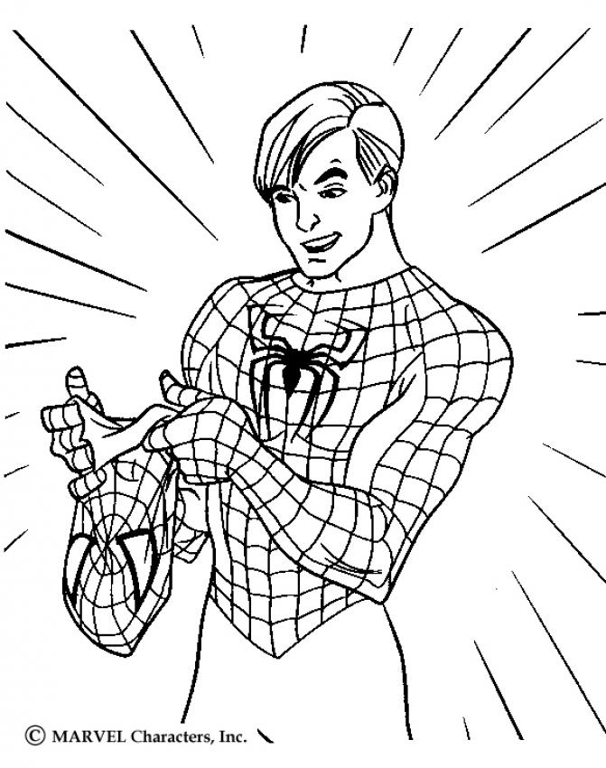Coloriage Spiderman - Spiderman retire son masque