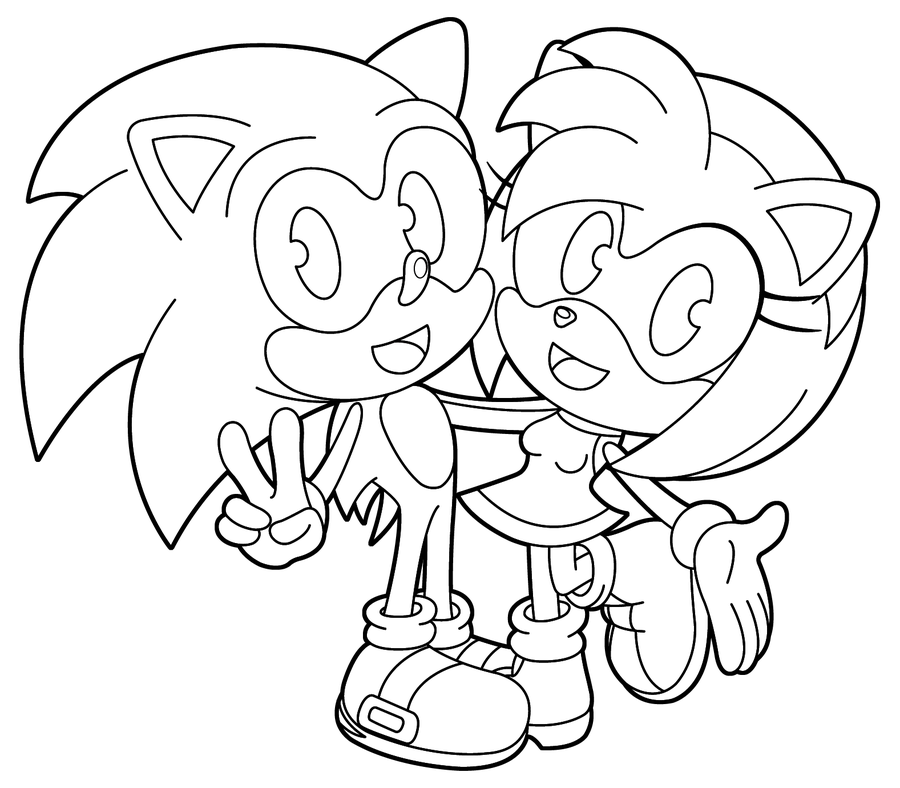 sonic and amy Coloriage