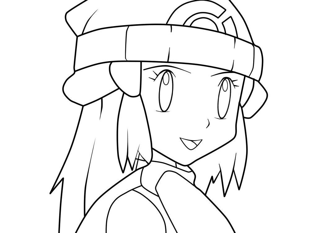 dawn coloring pages | Pokemon Trainer Dawn Coloring Pages Coloring Pages