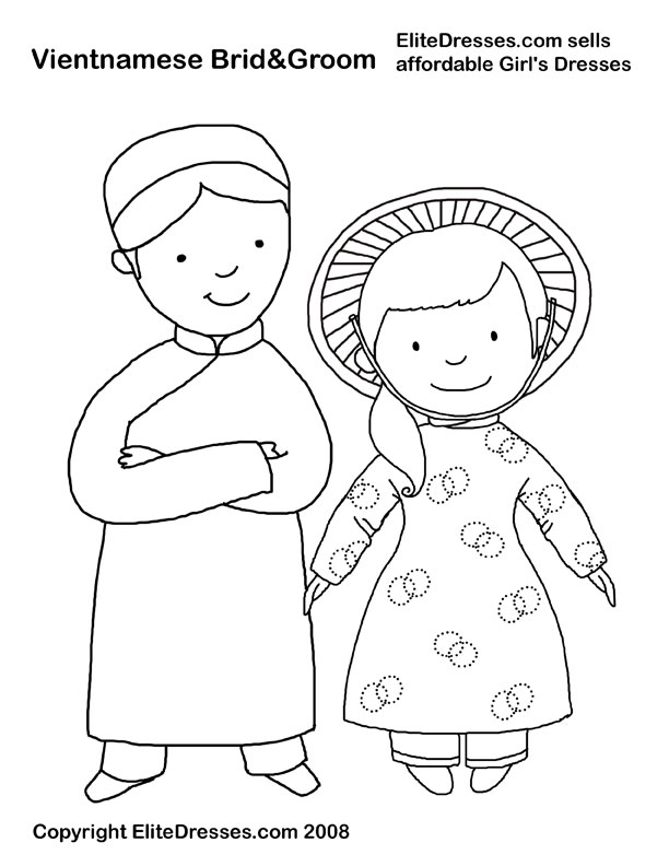 Coloriage Mariage - Chinois à colorier | Allofamille