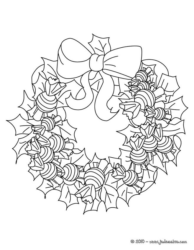 Coloriage Couronne De Noel.Coloriage De Couronnes De Noël Coloriage Couronne Bonbons