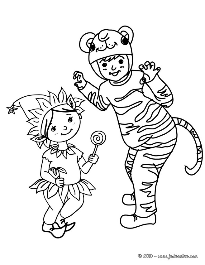 Coloriage CARNAVAL COSTUMES - Coloriage costume carnaval enfants