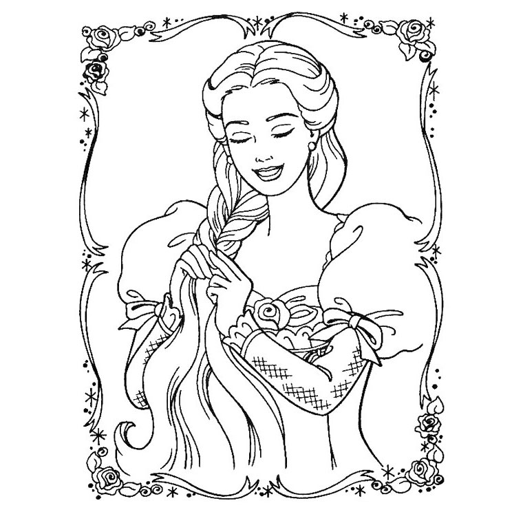 Barbie Raiponce Coloriage