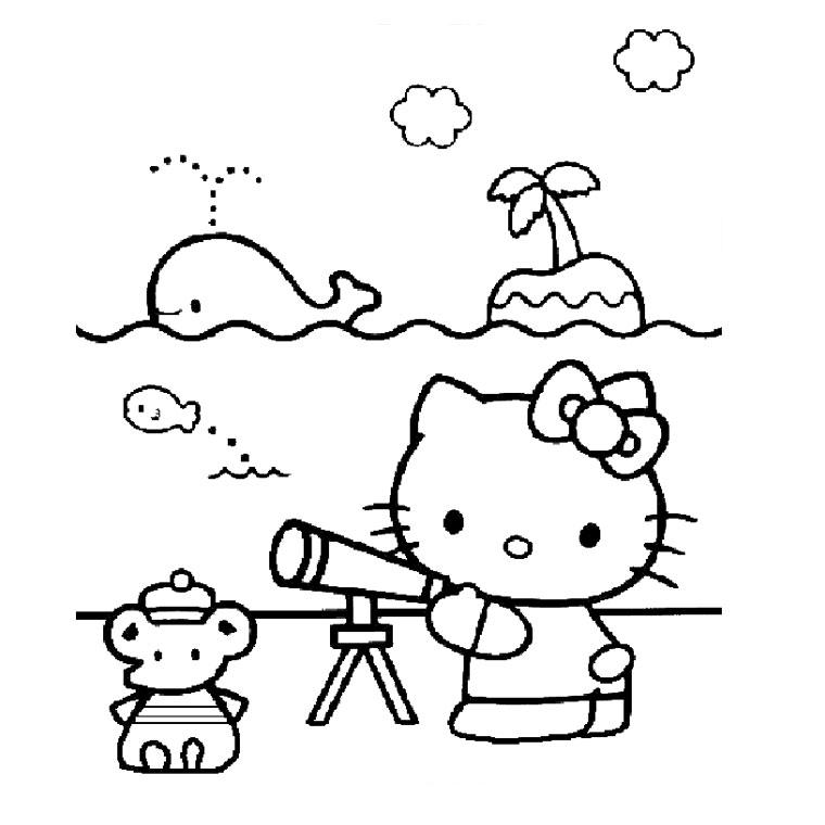 Coloriage Hello Kitty Cheval.Coloriage Hello Kitty A La Plage A Imprimer Gratuit Az Coloriage