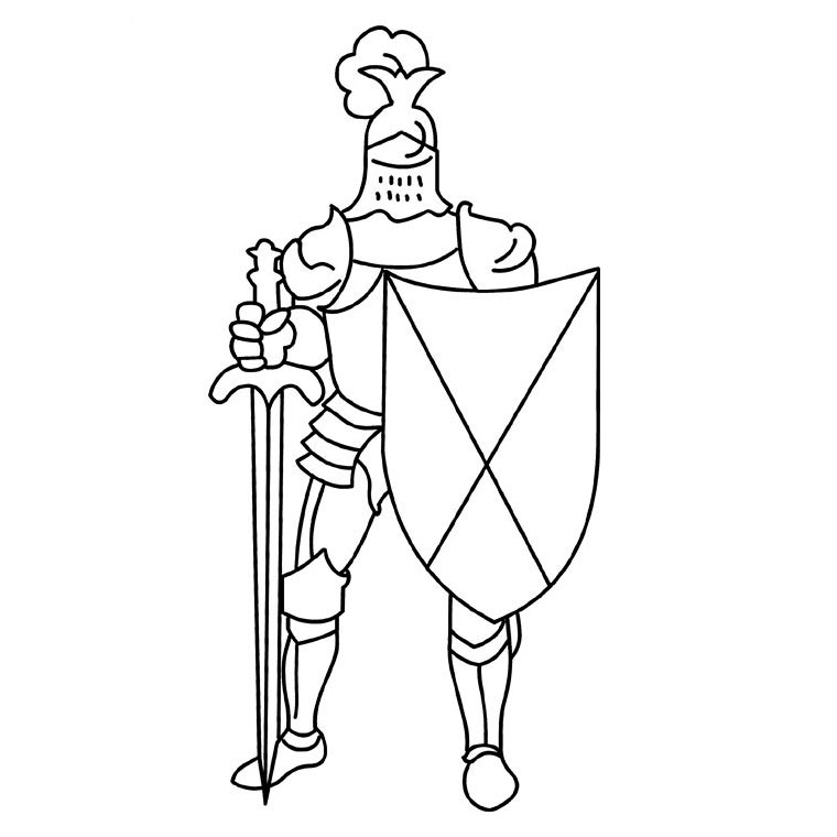 Photo Coloriage chevalier : image gratuite Coloriage chevalier