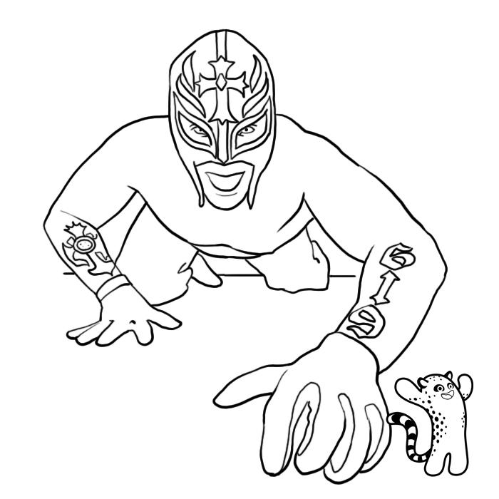 Coloriage couleur masque de rey mysterio - Coloriage wwe ...