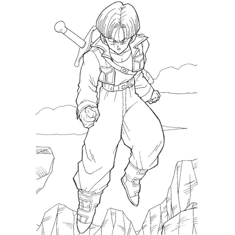 Coloriage Dragon Ball Z Trunk a Imprimer Gratuit