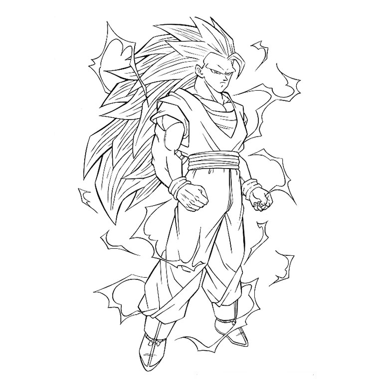 Coloriage Dragon Ball Z Super Saiyan a Imprimer Gratuit