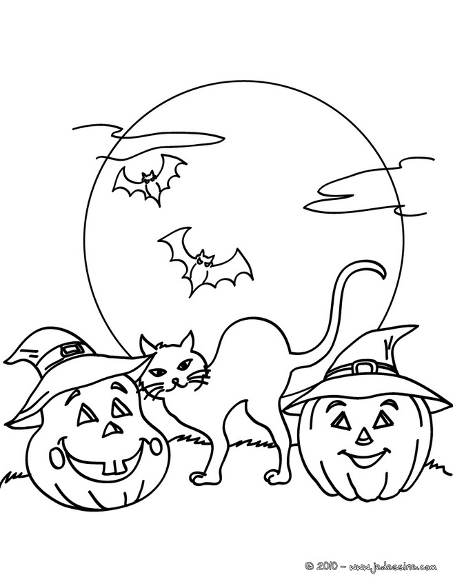 Coloriage CHAT HALLOWEEN - chat nuit halloween gratuit