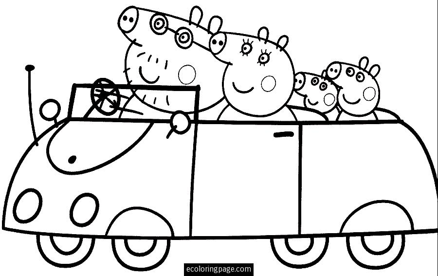 peppa and family Colouring Pages