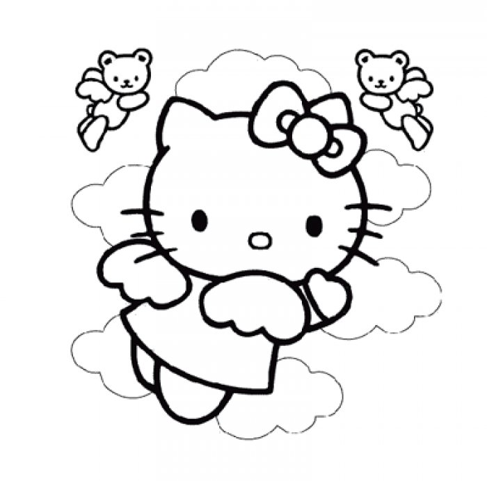 Hello Kitty cute car Colouring Pages (page 2)