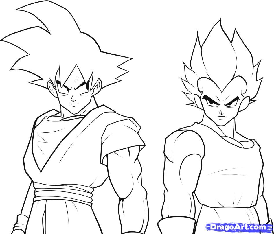 How To Draw Goku And Vegeta Step By Step Dragon Ball Z Az Coloriage
