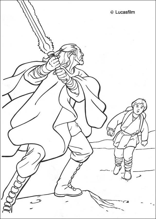 Coloriage STAR WARS - Coloriage STAR WARS de Qui Gon Jin et Anakin