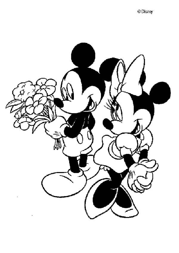 Mickey aime Minnie - coloriage disney