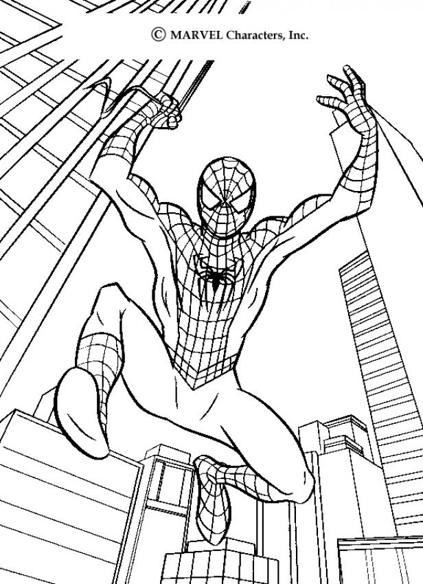 Coloriage Spiderman - Le grand saut de Spiderman