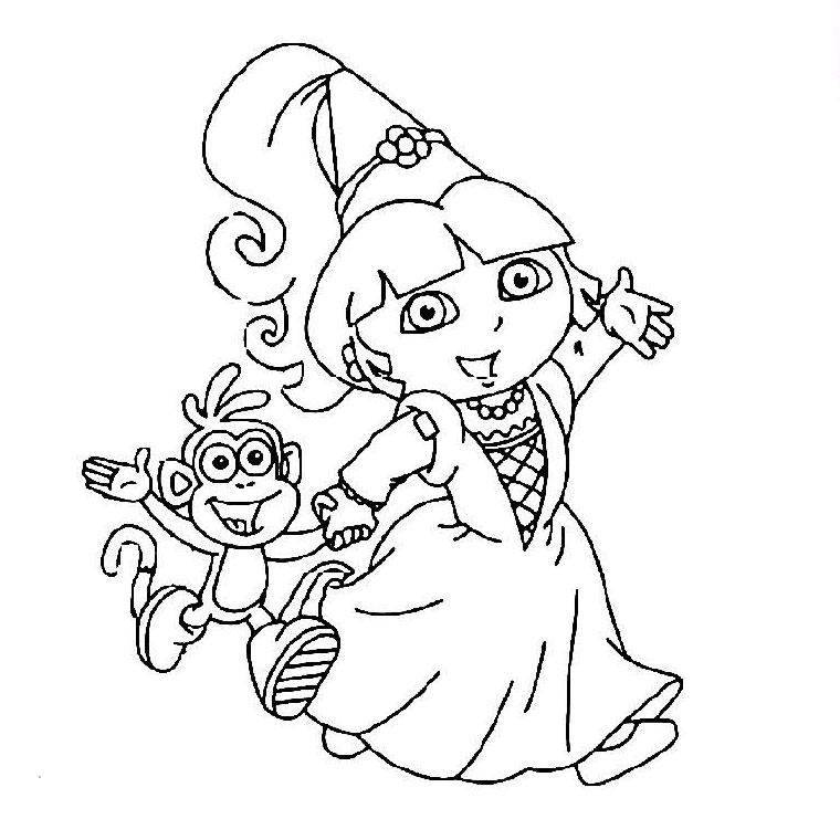 coloriage dora la princesse a imprimer gratuit