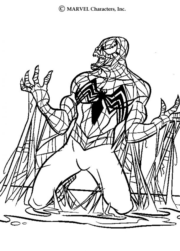 Coloriage Spiderman - Venom immobilisé