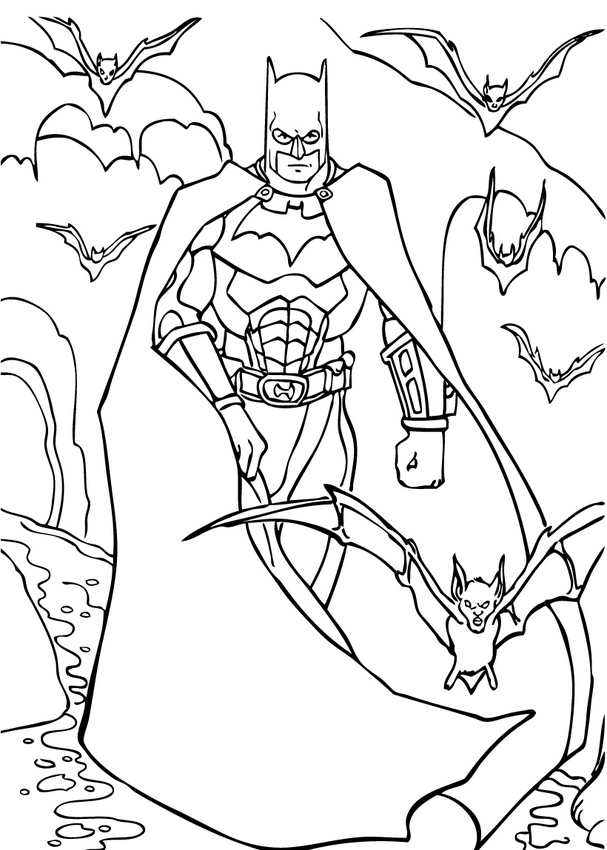 Coloriage BATMAN - Batman en plein vol