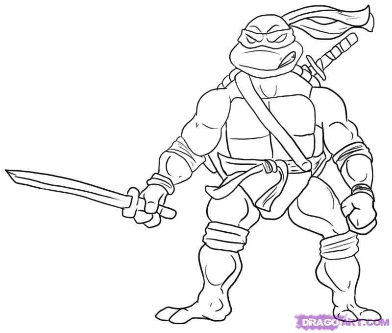 How to draw leonardo from teenage mutant ninja turtles step by