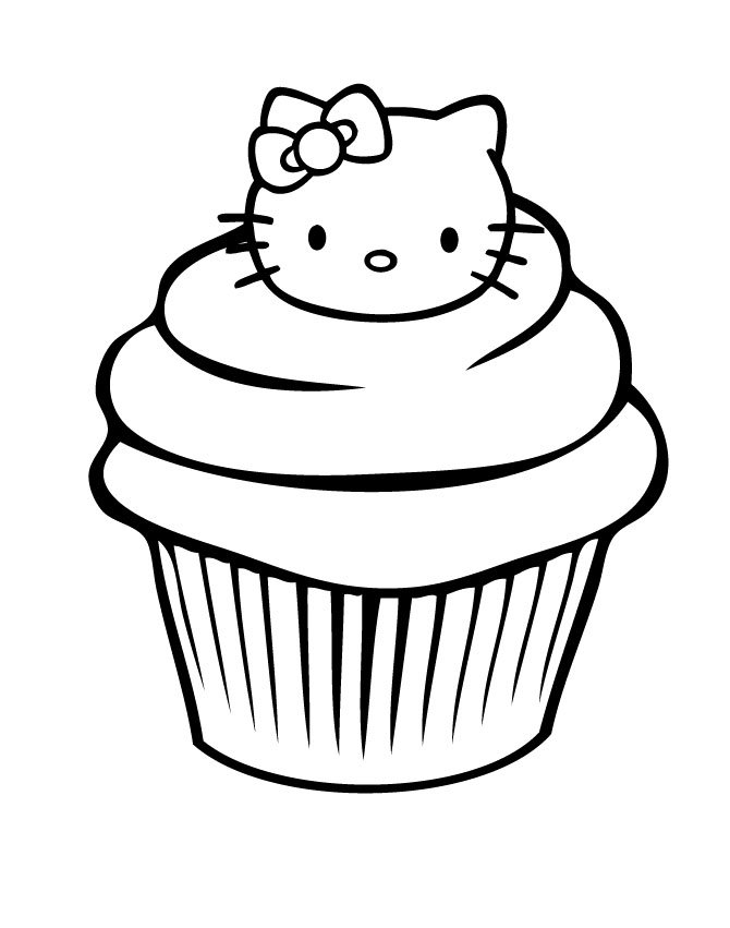 Hello Kitty Cupcake Coloring Page - Free Coloring Pages