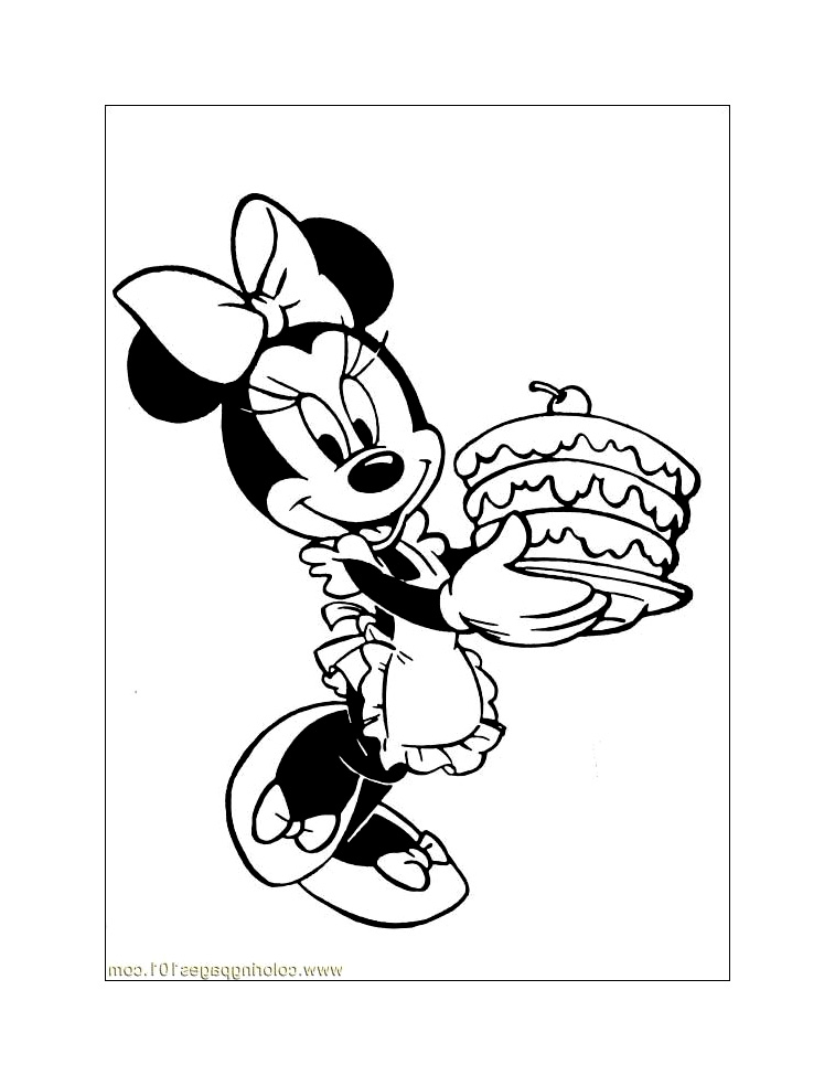 coloriage-minnie-gateau_jpg dans Coloriage Minnie | Coloriages à