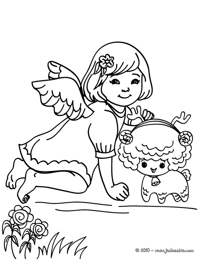 Coloriages Anges de Noël - Coloriage ange noël à la bougie