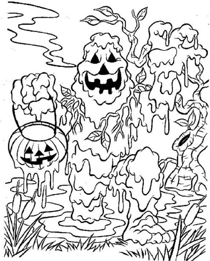 Coloriage MONSTRE HALLOWEEN - Coloriage d'un monstre de boue