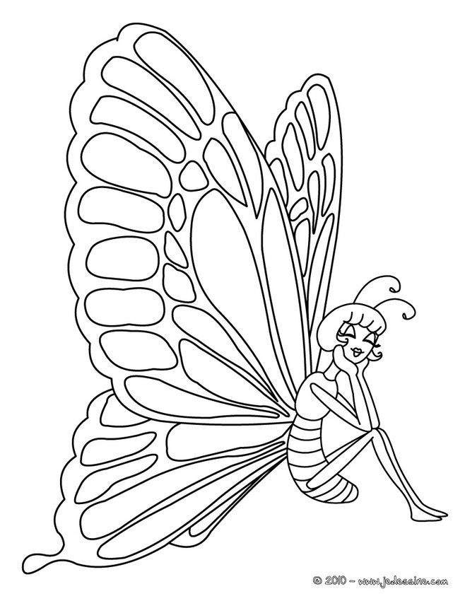 Coloriages de papillons - Princesse Papillon