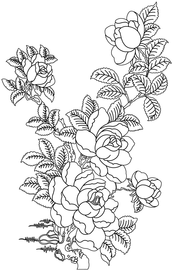 bouquet rose Coloriage