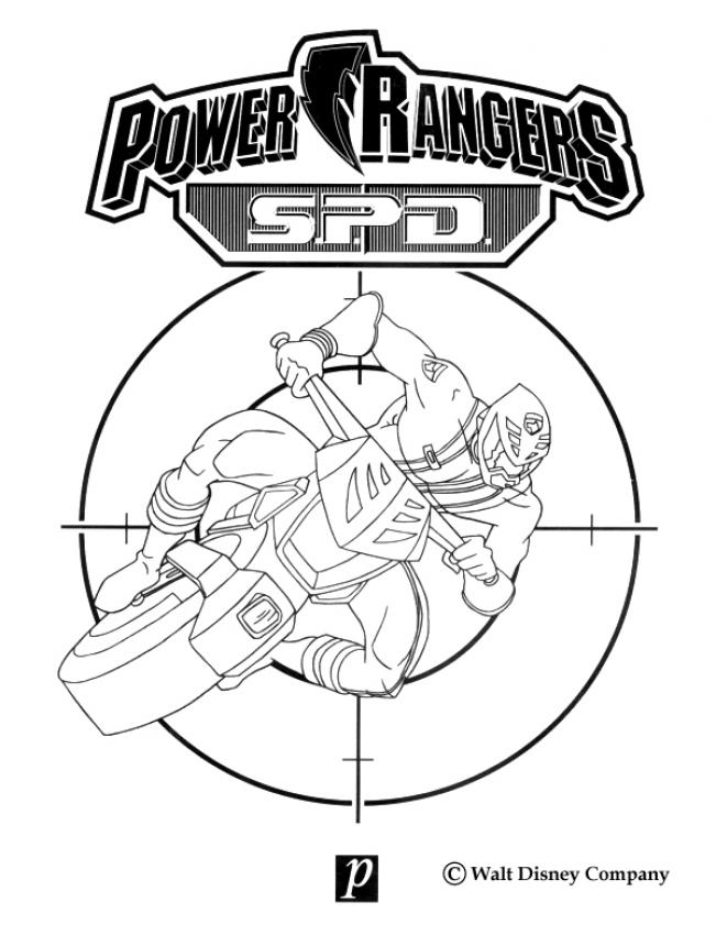 Coloriage POWER RANGERS - La moto du ninja