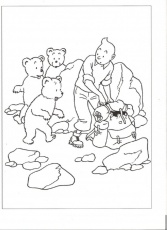 Tintin coloriage. Schtroumpfs. Animaux Chiens Chats Dragons