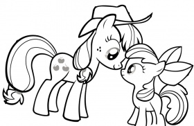 My Little Pony Looking At Each Other Coloring Page : KidsyColoring
