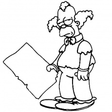 Coloriage Krusty le Clown Simpson a Imprimer Gratuit