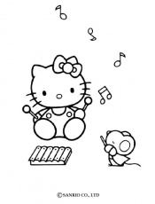 Coloriage HELLO KITTY - Coloriage de Hello Kitty musicienne
