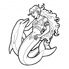 barbie dauphin Coloriage