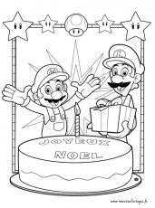 Coloriages Super Mario Bros Joyeux No L Et Luigi Picture