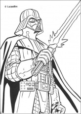 Coloriage DARK VADOR - Coloriage STAR WARS du sabre lazer de Dark