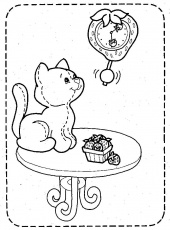 Coloriage Le chat sur la table et dessin à colorier Le chat sur la