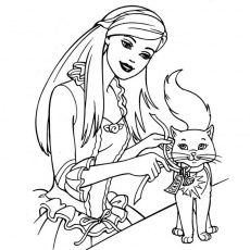 coloriage barbie et chaton Coloriage