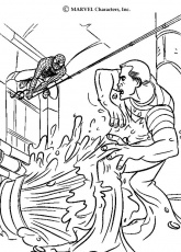 Coloriage Spiderman - Combat entre Spiderman et l'homme sable