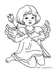 Coloriages Anges de Noël - Petit ange à la rose à colorier