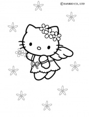 Coloriage HELLO KITTY - Coloriage de Hello Kitty petit ange