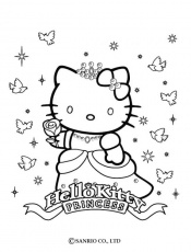 Coloriage HELLO KITTY - Coloriage de Princesse Kitty