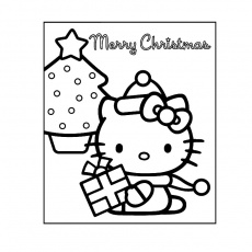 hello kitty noel Coloriage