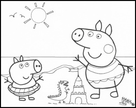 peppa pig at the beach Colouring Pages
