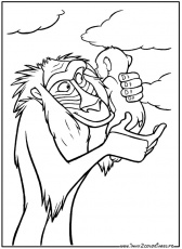 Coloriages Roi Lion de Walt Disney - The lion king - Rafiki et Simba
